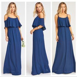Show Me Your Mumu Caitlin Dress in Rich Navy Crisp